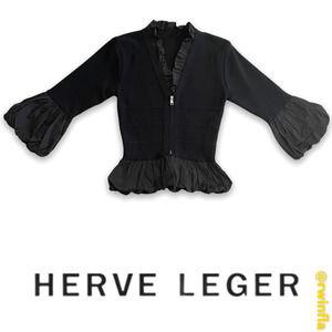 Herve Leger Stretch Knit Jacket Ruffle Trim Coat S